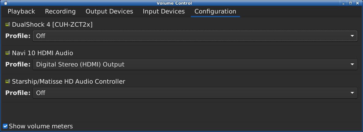 pavuconfig configuration tab