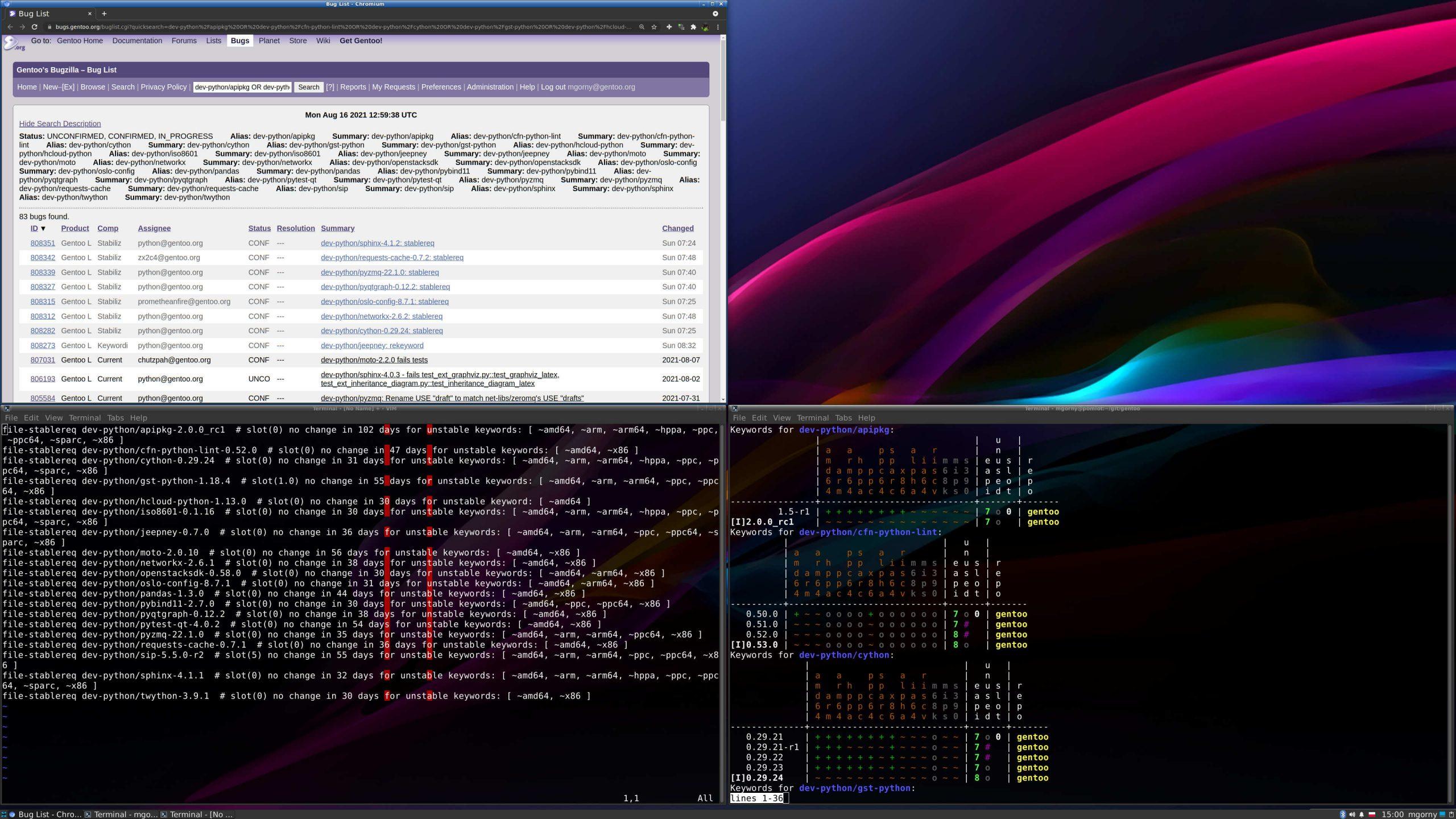 Screenshot of desktop with the described three windows open